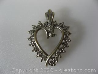 10kt White Gold Heart Pendant with 1 Diamond