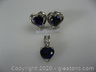 10kt White Gold Lab Sapphire Pendant and Earring Set