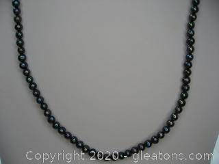 14kt Yellow Gold 5mm Black Pearl Necklace