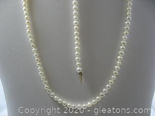 14kt Yellow Gold 4-5mm Freshwater Pearl Necklace and Bracelet Set
