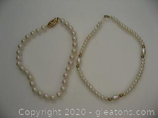 (2) 14kt Yellow Gold Freshwater Pearl Bracelets