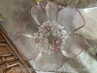 Decorative Pink Glass Bowl