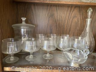 Collection of Cognac Glass Ice Bucket and Decanter