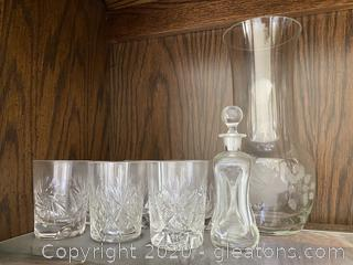 Collection of Cut Glass, Old Fashioned Glass, Pitcher, and Decanter