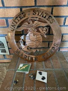Marine Corps Emblem Wall Hanging and Pins