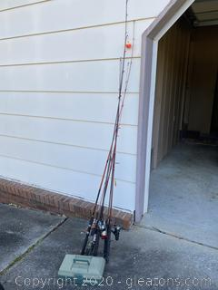 Collection of Fishing Poles and Tackle Box