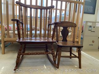 Small Wooden Rocker and Kids Chair