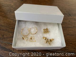 Collection of Gold Stud Earrings and Hoops