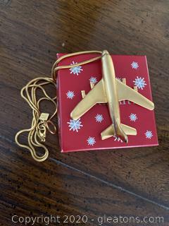 Ann Klein Gold Airplane Pendant Necklace