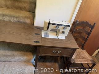 Riccor Sewing Machine in Cabinet with Chair