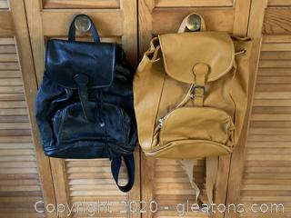 Pair of Genuine Leather Backpacks
