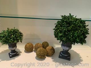 Lot of Faux Potted Evergreen Plants and Faux Moss Balls