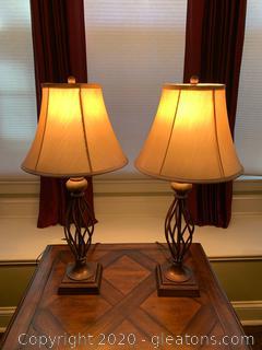 High Royal Bronze Finish Table Lamp Pair