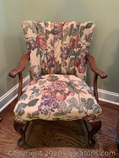 Mahogany Hand Carved Queen Anne Arm Chair with Floral/Grape Vine Upholstery