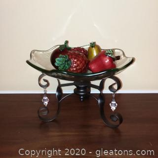 Scalloped Edge Glass Bowl on Metal Stand – 5 Pieces of Ceramic Fruit Included
