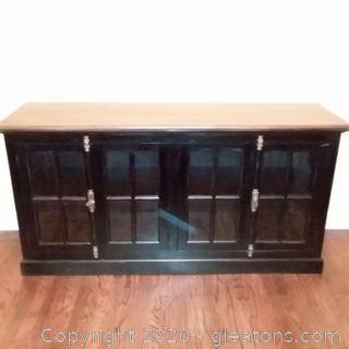 4 Door Buffet- Black With Wood Grain Top