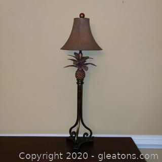 Pineapple Table Lamp A with Round Bell Shade