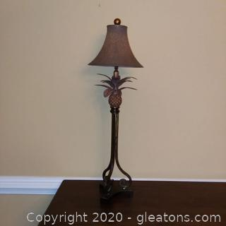 Pineapple Table Lamp B with Round Bell Shade