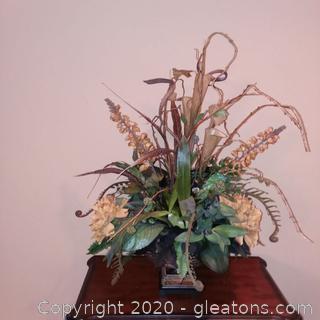 Large Silk Floral Arrangement in Pedestal Basket