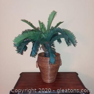 Faux Sago Palm in Basket