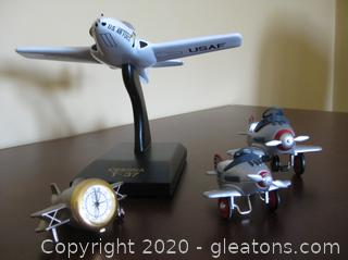 Cessna T-37 Model with 3 More Pieces of Airplane Decor
