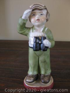 Vintage Porcelain Boy . Watching for Airplanes from Japan