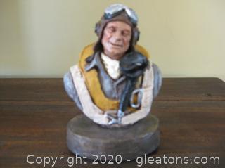 """Michael Garman Handpainted Bronze Bust """"Fighter Pilot"""""""