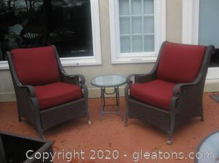 Patio Set : 2 Arm Chairs with 1 Small Table