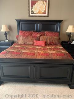 Arrington Dark Wood King Size Bed With Head Board, Mattress and Box Springs