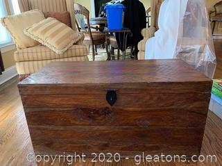 Rustic Mahogany Wood Storage Trunk