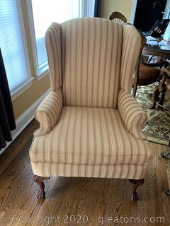 Kincald Upholstered Wingback Scroll Arm Chair With Ball and Claw Legs (B)