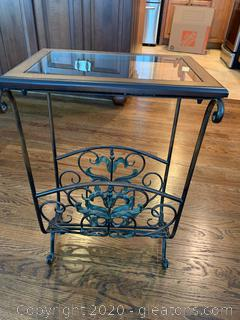 Mahogany Wrought Iron Glass Top End Table/Magazine Rack