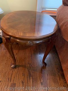 Mahogany Oval Shaped Hand Carved End Table