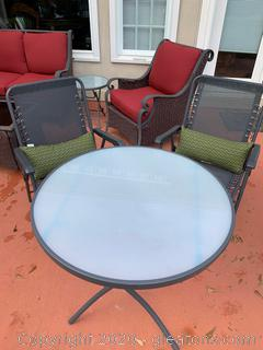 Outdoor Patio Table with Glass Top and 2 Chairs