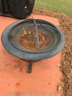 Metal Fire Pit with Lid