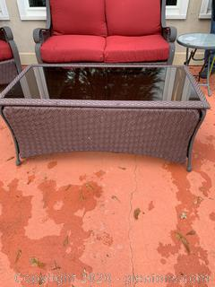 Outdoor Wicker Patio Table with Glass Top