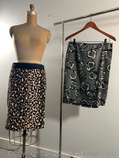 2 Formal Animal Print Skirts (size 8)