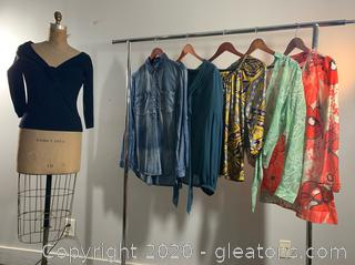 6 Spring Colored Ladies Long-sleeved shirts (M & 6)