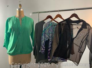 4 pc lot Ladies Sheer Blouses (XS & S)