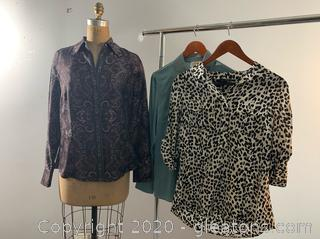 3 Ladies Long-sleeved Button Down Dress Shirts (size 8 & 10)