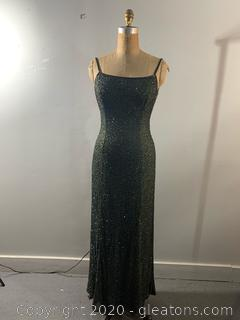 Cache Olive Green Beaded Long Formal Gown (M)