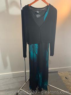 Carole Little 2 pc Formal Dress & Cardigan (size 6)