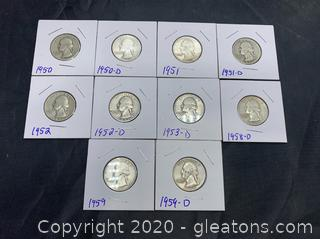 Set of Near/Possibly Uncirculated Silver George Washington Quarters