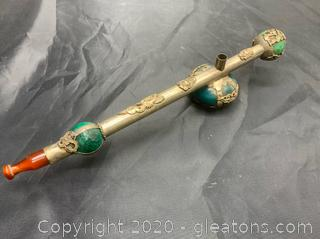 Antique Jade & Bronze Asian Smoking Pipe with Base