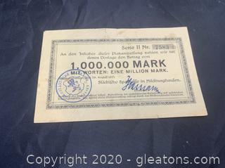 Circulated 1923 German, 1,000,000 Mark Note