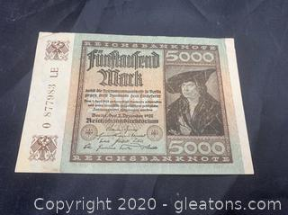 Circulated 1922 German 5000 Mark Note
