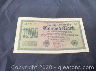 Circulated 1922 German 1000 Mark Note