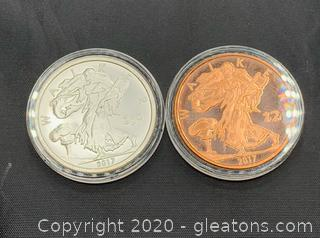 """Zombucks Set of 2017 """"Walker"""" 1oz silver and copper rounds"""