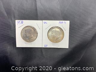 Set if Kennedy Silver 1964-D Half Dollar & 1976 Bicentennial