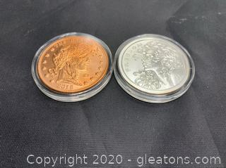 """Silver Bullet Silver Shield """"Freedom Girl"""" And Zombucks 2018 """"The Barber"""" 1oz silver and copper rounds"""